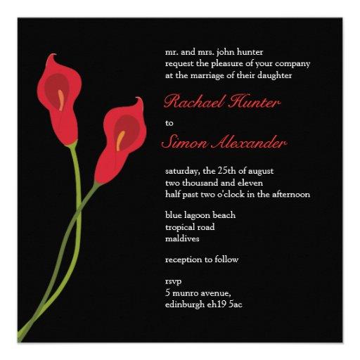 Calas rojas que casan el negro de Invitiation- Comunicado Personalizado