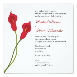 Calas rojas que casan Invitiation Invitación 13,3 Cm X 13,3cm