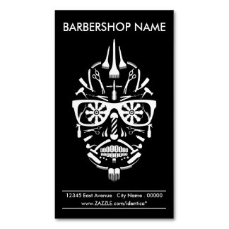 calavera del punk de la barbería tarjetas de visita magnéticas