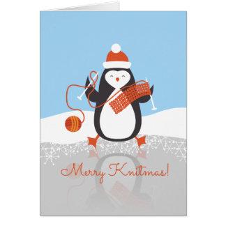 Calcetero del navidad del hilado de las agujas que tarjeta
