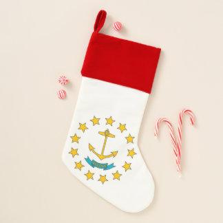 Calcetín Navideño Bandera de las medias del navidad de Rhode Island,