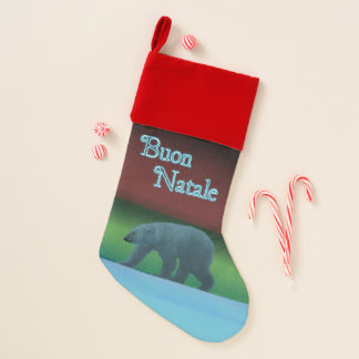 Calcetín Navideño Buon Natale - oso polar de las luces polares