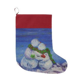 Calcetín Navideño Grande Almacenamiento del navidad del muñeco de nieve de