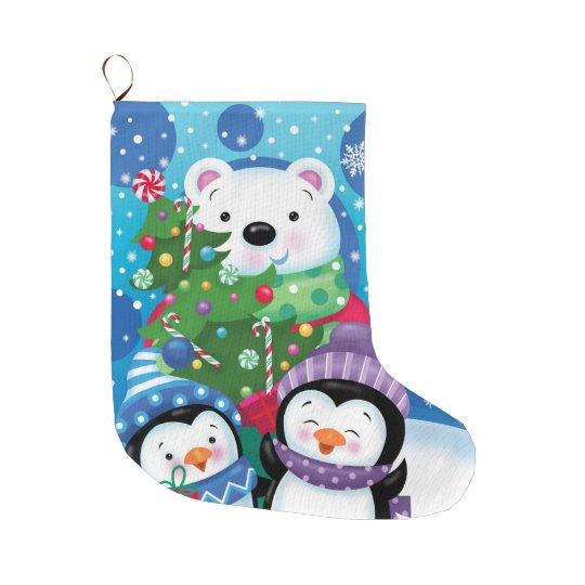 Calcetín Navideño Grande Almacenamiento del oso polar y de los pingüinos