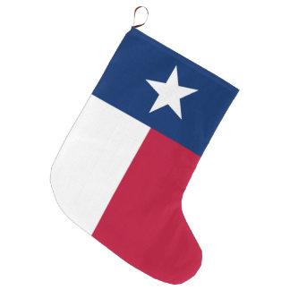 Calcetín Navideño Grande Bandera del estado de Tejas - color auténtico de