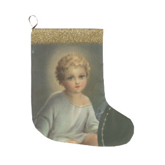 Calcetín Navideño Grande Bebé de oro Jesús del purpurina en el pesebre