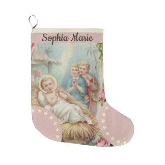 Calcetín Navideño Grande Bebé personalizado Jesús en chicas del pesebre