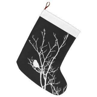 Calcetín Navideño Grande Blanco en silueta negra del pájaro -