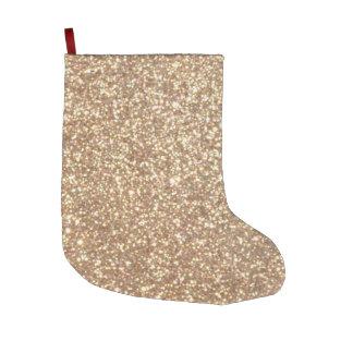 Calcetín Navideño Grande Brillo metálico del oro color de rosa de cobre