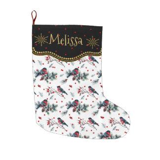 Calcetín Navideño Grande Bull-pinzón y modelo rojo de las bayas del navidad