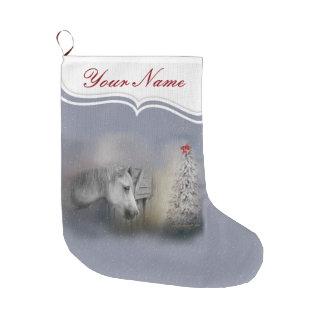 Calcetín Navideño Grande Caballos: Amantes del caballo del invierno del