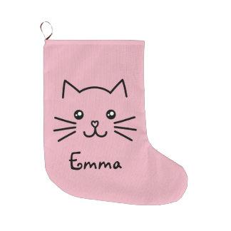 Calcetín Navideño Grande Cara linda del gato del gatito de Kawaii con la