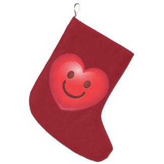 Calcetín Navideño Grande Corazón feliz Emoji