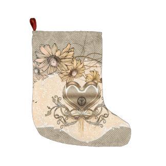 Calcetín Navideño Grande Corazón maravilloso con las flores
