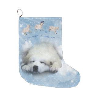 Calcetín Navideño Grande Día de fiesta del navidad - perrito de Pyr que