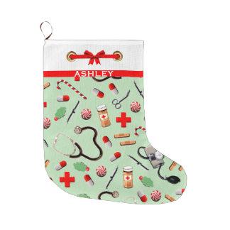 Calcetín Navideño Grande Días de fiesta de la atención sanitaria
