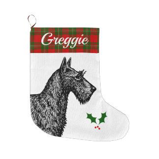 Calcetín Navideño Grande Escocés Terrier con el tartán de MacGregor del