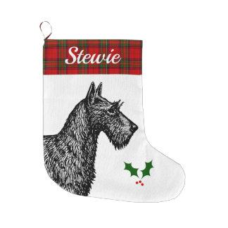 Calcetín Navideño Grande Escocés Terrier con el tartán de Stewart del clan