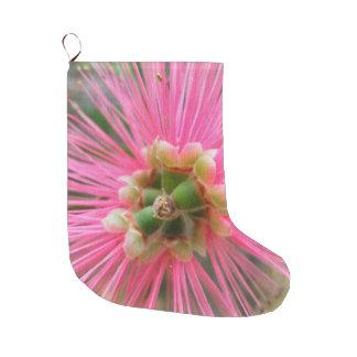 Calcetín Navideño Grande Flor rosada del árbol de goma