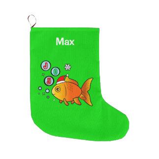 Calcetín Navideño Grande Goldfish con el gorra de Santa y las burbujas de