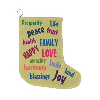 Calcetín Navideño Grande Las palabras inspiradas lindas diseñan colorido