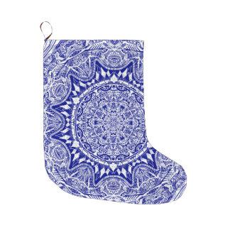 Calcetín Navideño Grande Mandala azul marino de Mehndi
