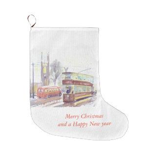 Calcetín Navideño Grande Media de Navidad de la tranvía de la clase de