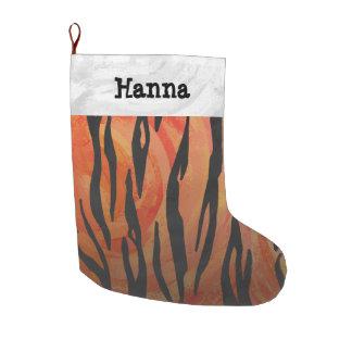 Calcetín Navideño Grande Naranja del tigre e impresión calientes del negro