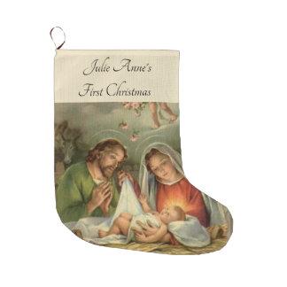 Calcetín Navideño Grande Natividad santa Jesús Maria José de la familia del