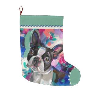 Calcetín Navideño Grande Navidad de Boston Terrier que almacena el