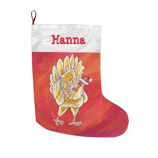 Calcetín Navideño Grande Navidad personalizado festivo del pollo