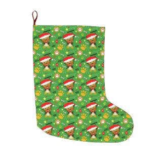 Calcetín Navideño Grande Navidad verde y rojo Yorkie