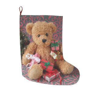 Calcetín Navideño Grande Oso de peluche con muchos regalos del navidad