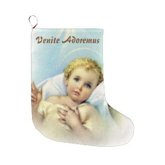 Calcetín Navideño Grande Personalice al bebé Jesús