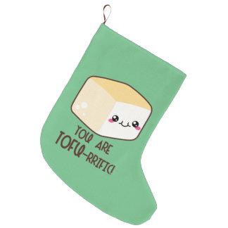 Calcetín Navideño Grande Queso de soja-rrific Emoji