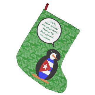 Calcetín Navideño Grande Sr. cubano Penguin del día de fiesta
