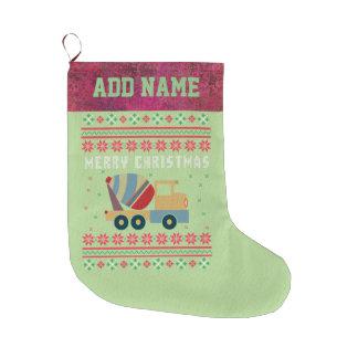 Calcetín Navideño Grande Suéter feo del navidad del camión del cemento