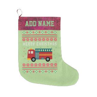 Calcetín Navideño Grande Suéter feo del navidad del coche de bomberos