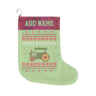 Calcetín Navideño Grande Suéter feo del navidad del tractor