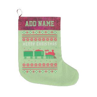 Calcetín Navideño Grande Suéter feo del navidad del tren