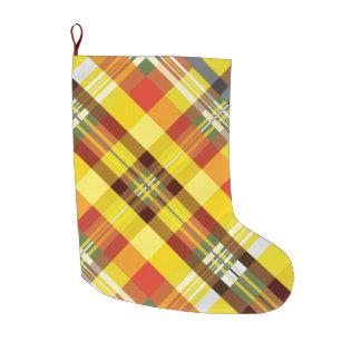 Calcetín Navideño Grande Tela escocesa/tartán - girasol
