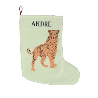 Calcetín Navideño Grande Tigre feroz personalizado