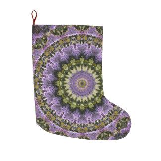 Calcetín Navideño Grande Verde y día de fiesta floral púrpura de la mandala