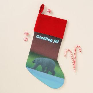Calcetín Navideño Jól de Gleðileg - oso polar de las luces polares