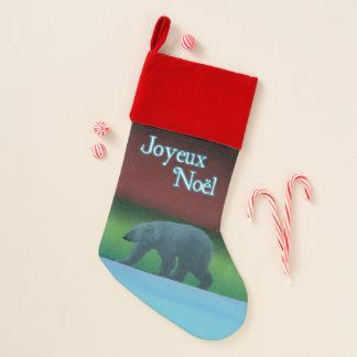 Calcetín Navideño Joyeux Noёl - oso polar de las luces polares