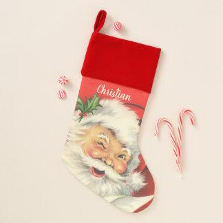 Calcetín Navideño Navidad de Papá Noel del vintage personalizado