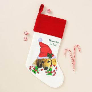 Calcetín Navideño Navidad del perrito del golden retriever