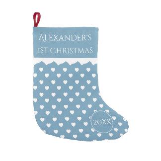 Calcetín Navideño Pequeño 1r navidad de los corazones azules y blancos