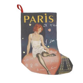 Calcetín Navideño Pequeño Aime del t del je de París, cartel viejo