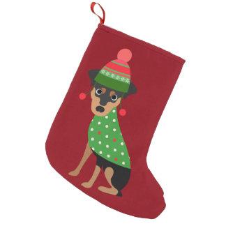 Calcetín Navideño Pequeño Almacenamiento del navidad del perro del Pinscher